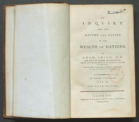 An Inquiry into the Nature and Causes of the Wealth of Nations / Adam Smith.- London, 1789. Ms 3464 © Bibliothèque de l'Institut de France