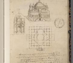 Plan et élévation d'église. Carnet B, ms 2173, f. 68v © Bibliothèque de l'Institut de France