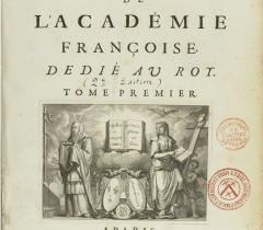 Dictionnaire de l'Académie française, 2e édition. Page de titre © BnF