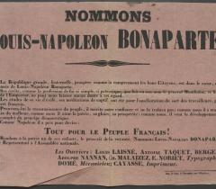 Lovenjoul Affiches 1848-1849 in-4° Réserve. Pièce n° 9. Candidature de Louis-Napoléon Bonaparte. © Bibliothèque de l'Institut de France