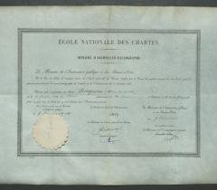 Ms 8516: Diplôme d'archiviste paléographe sur vélin, décerné à Henri Auguste Longnon le 8 février 1904.© Bibliothèque de l'Institut de France